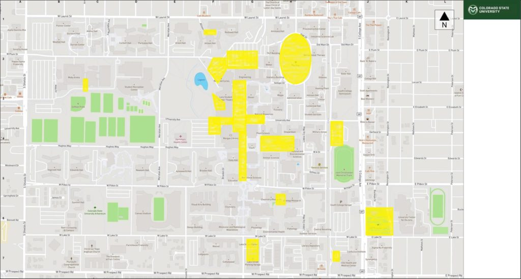 CSU Campus Map Highlighting Outdoor Wireless Coverage